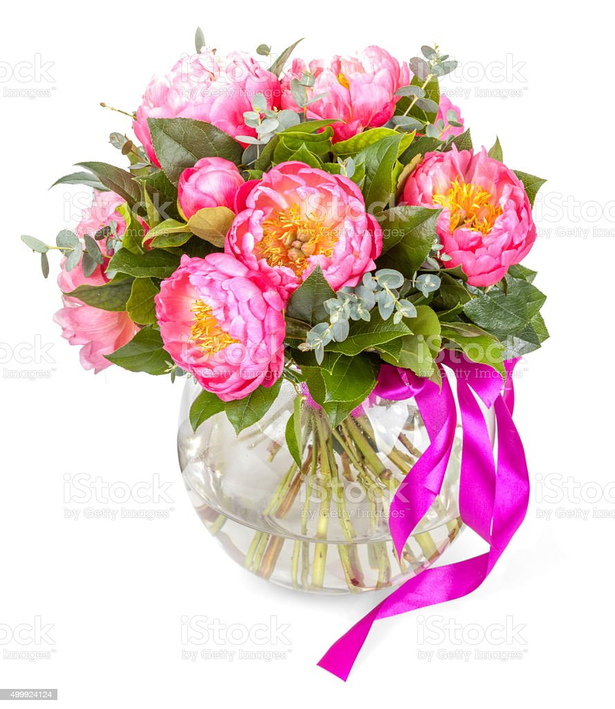 Amazing bouquet of pink pions on white stock photo more pictures amazing bouquet of pink pions on white royalty free stock photo izmirmasajfo