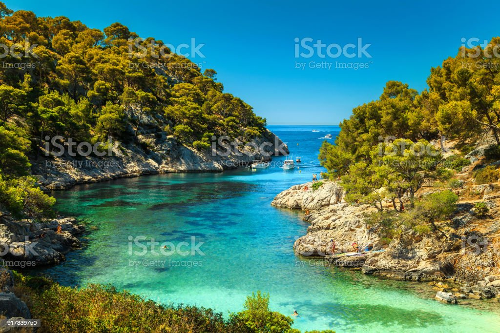 Amazing Calanques De Port Pin in Cassis, near Marseille, France stock photo
