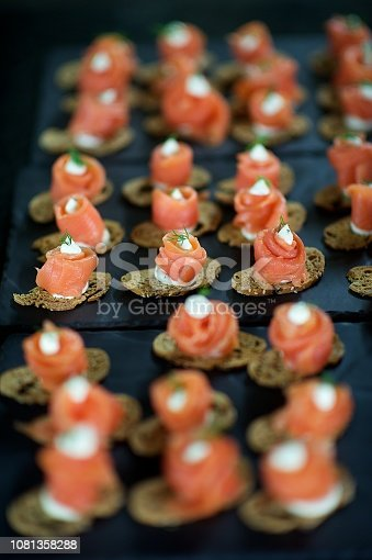 Amazing Canapés Salmon Roses at a wedding celebration party predrinks Cape Town South Africa