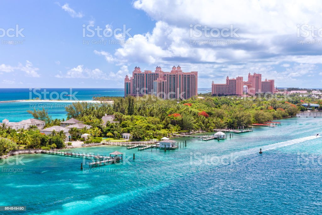 Amazing caribbean beach at Nassau, Bahamas stock photo