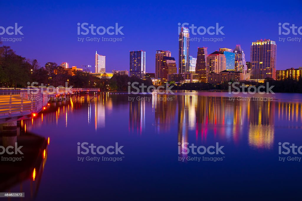 Amazing City Lights of Austin reflecting in Town Lake stock photo
