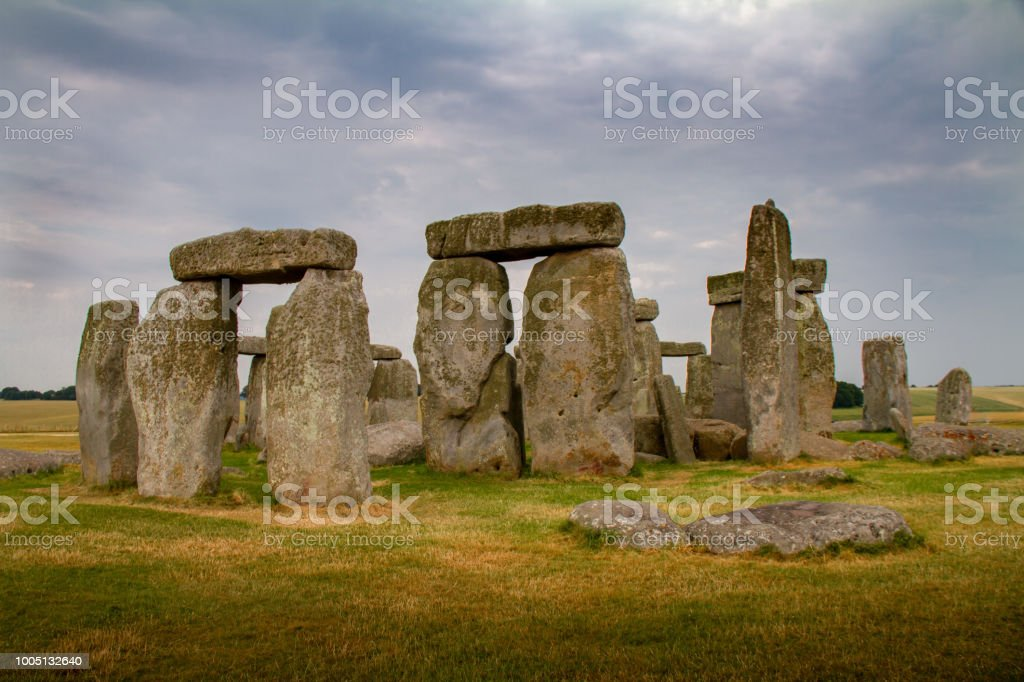 Amazing cloudy close-up of Stonehenge in Wiltshire, England stock photo