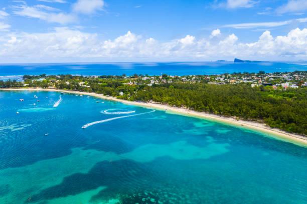 Amazing coastline on the indian ocean in Mauritius island stock photo