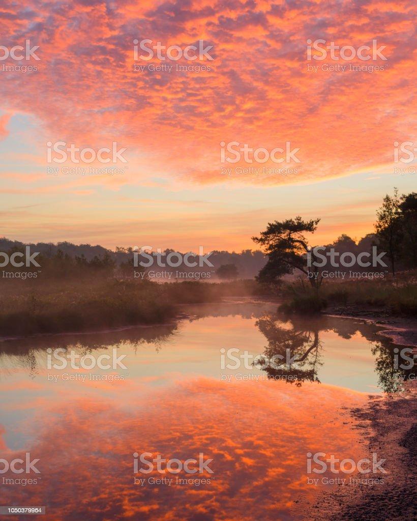 Geweldig colorfu zonsopgang met reflectie op het water. foto