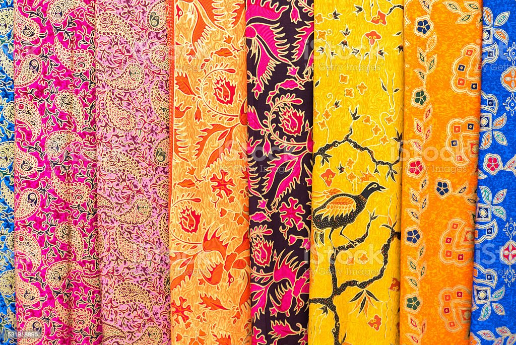 Amazing colorful Balinese sarongs for sale in Ubud, Bali stock photo
