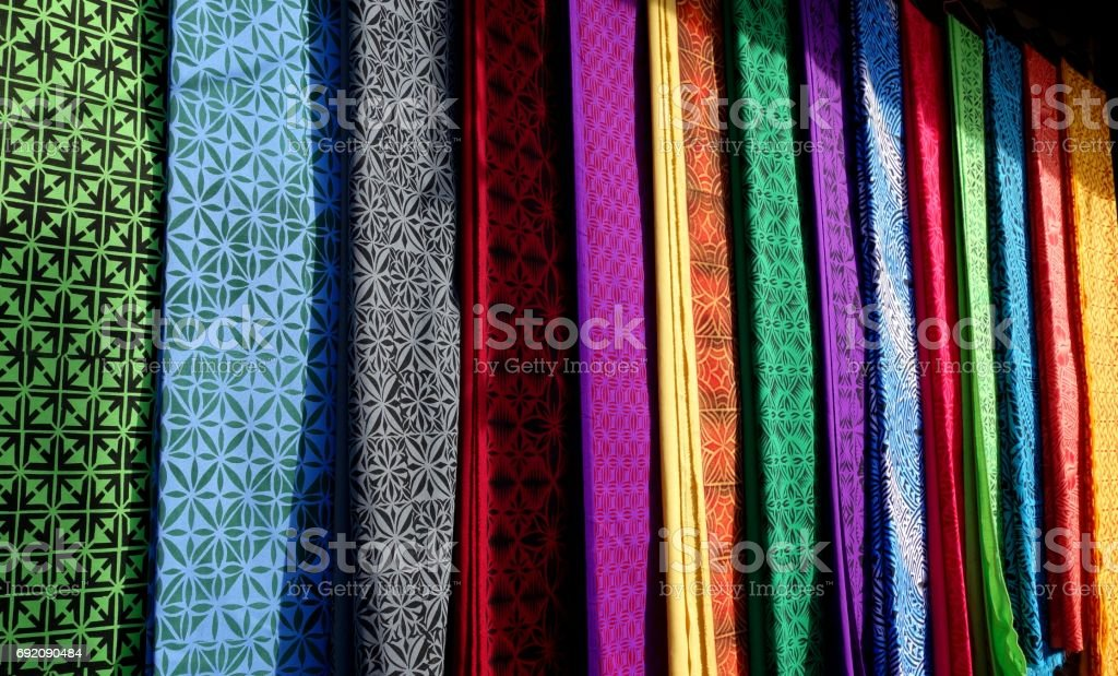 Amazing colorful cloths for sale in Apia, Samoa stock photo