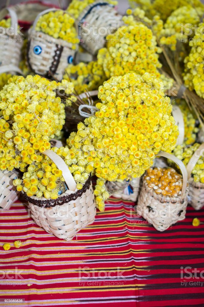 Amazing colorful dry  flowers in view stock photo