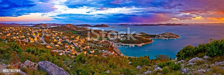istock Amazing colorful sunset panorama of Pakostane archipelago, Dalmatia, Croatia 863780794