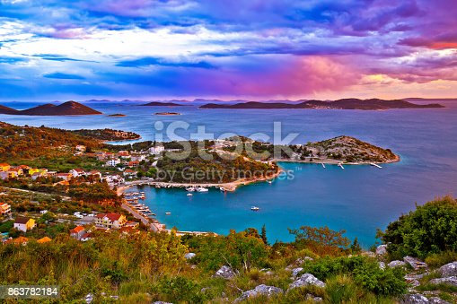 istock Amazing colorful sunset panorama of Pakostane archipelago, Dalmatia, Croatia 863782184