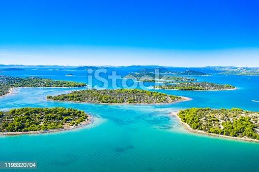 istock Amazing Croatian coastline, small Mediterranean islands in Murter archipelago, aerial view of turquoise bays 1193320704