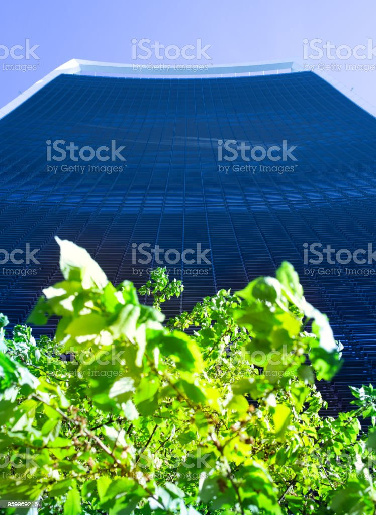 Amazing design and architecture of the Walkie-Talkie Building on a stunning clear blue sky morning stock photo