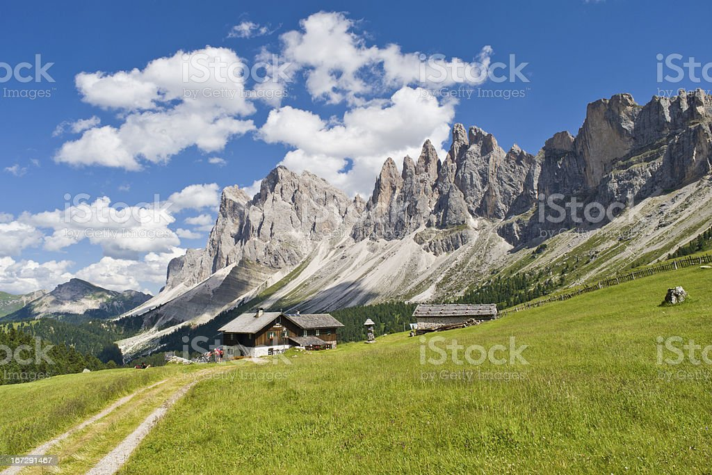 Amazing Dolomites and a Mountain Hut stock photo