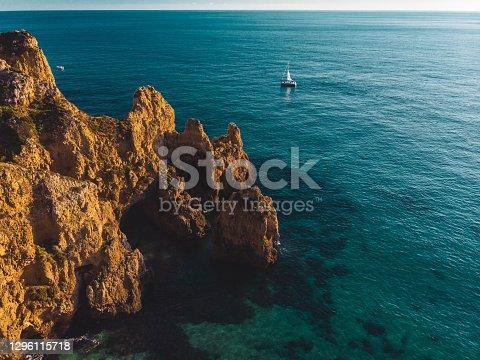 Amazing Drone Shot of Beautiful Ponta da Piedade in Lagos, Portugal