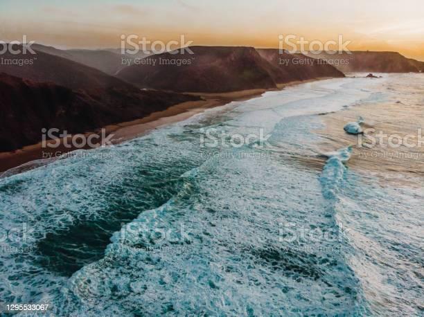 Amazing Drone Shot The Beautiful Algarve Coastline At Praia Do Castelejo And Praia Da Cordoama Portugal Stock Photo - Download Image Now