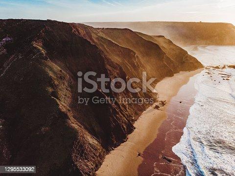 Amazing Drone Shot the Beautiful Algarve Coastline at Praia do Castelejo and Praia da Cordoama, Portugal
