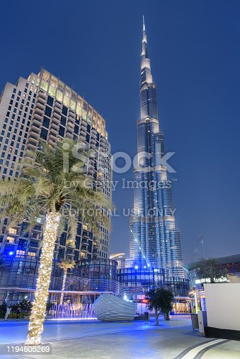 Dubai, United Arab Emirates - 2 November, 2018: Amazing evening view of the iconic Burj Khalifa Tower at downtown. Awesome cityscape. Dubai is a popular tourist destination of UAE.