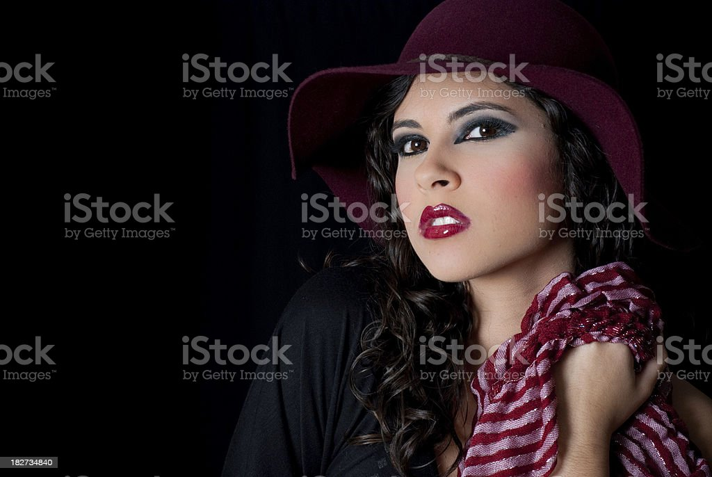 Woman wearing make-up and a scarf - Glamour Shot