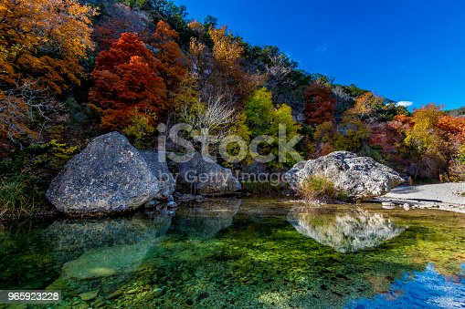 Beautiful Crystal Clear Pool with Several Large Boulders on Sabinal River with Amazing Very Bright Fall Foliage at Lost Maples State Park, Texas