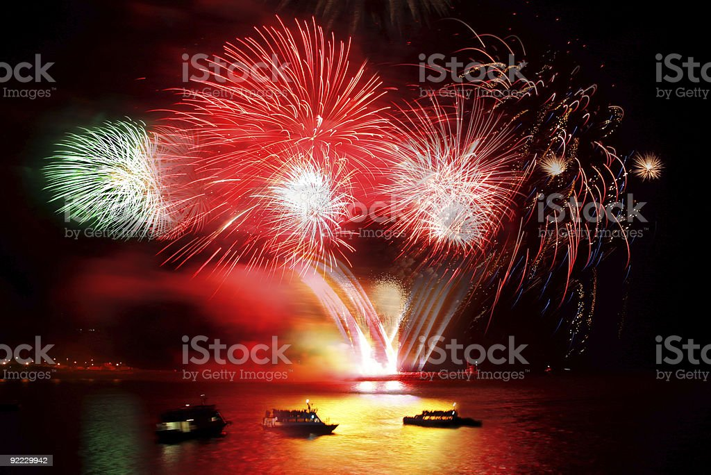 amazing fireworks over the ocean royalty-free stock photo