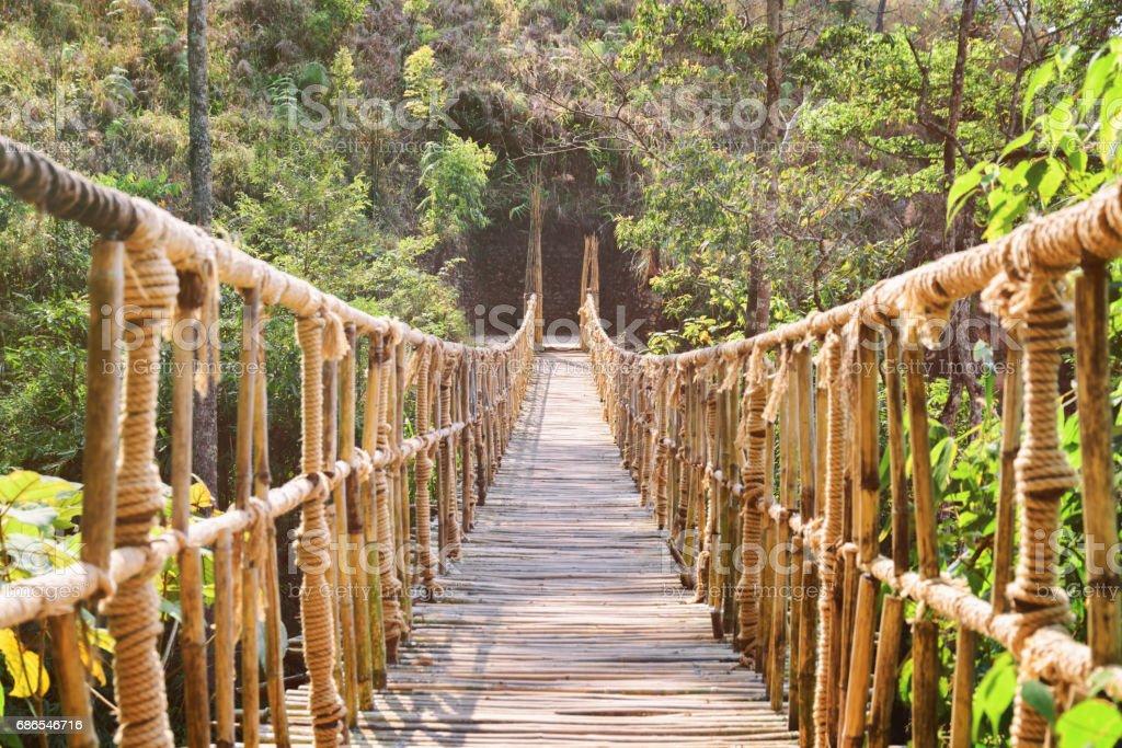 Geweldige footbridge gemaakt van touw en bamboe royalty free stockfoto