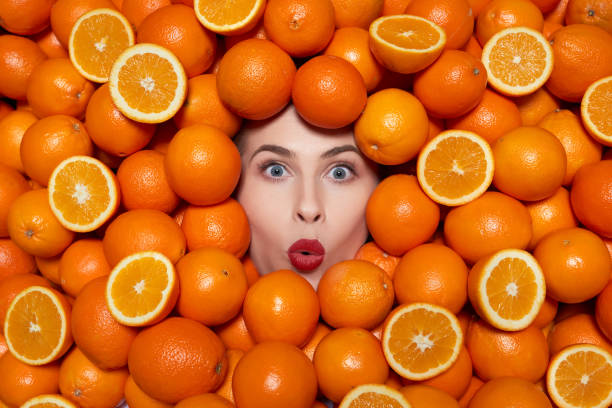 amazing fresh oranges stock photo