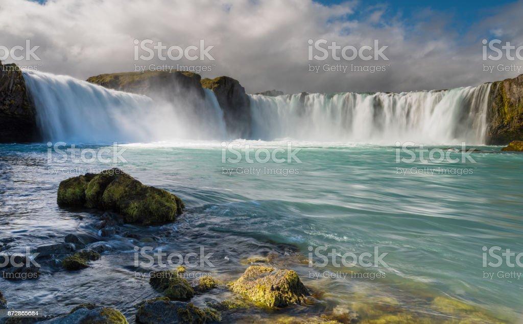 Amazing Godafoss waterfall in Iceland stock photo