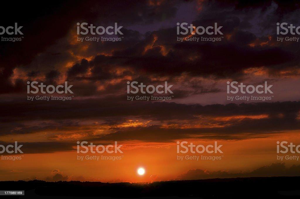 Amazing golden sunset royalty-free stock photo
