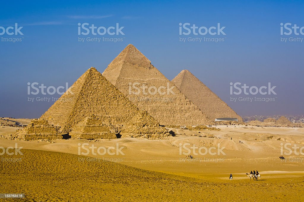 Amazing Great Pyramids of Giza, Egypt stock photo