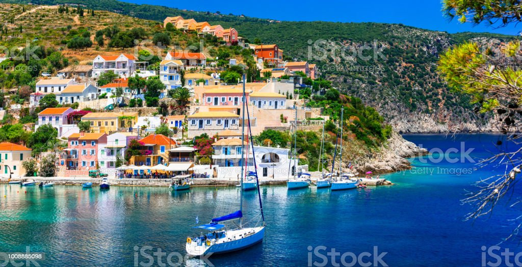 Amazing Greece - picturesque colorful village Assos in Kefalonia stock photo