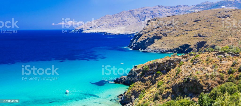 amazing Greece series - beaches of Andros island, Cyclades stock photo