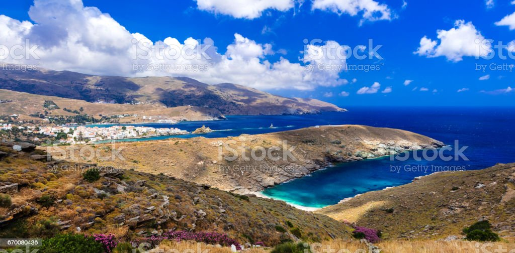 Amazing Greece series - pictorial Andros island. Cyclades stock photo