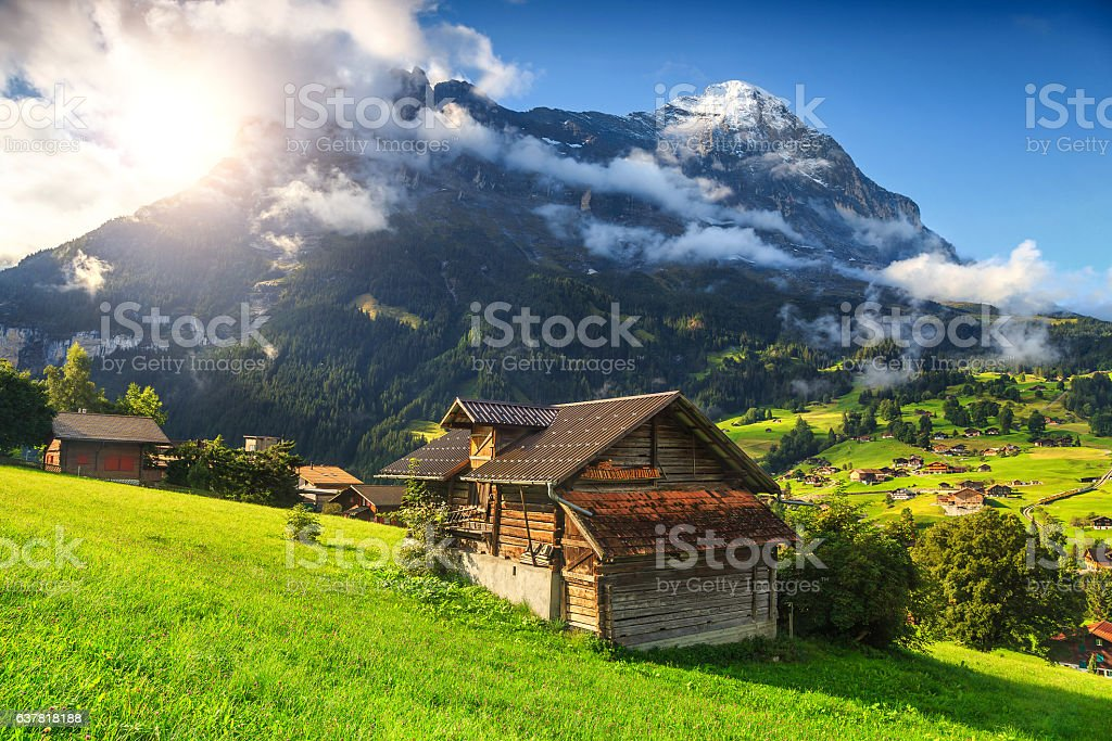 Amazing Grindelwald resort and Eiger mountains, Bernese Oberland, Switzerland, Europe – Foto