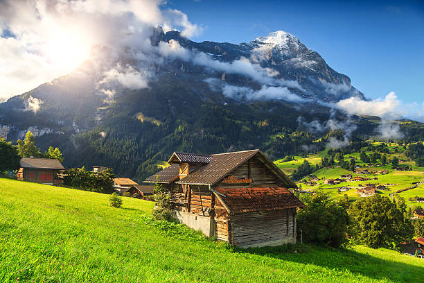 Amazing Grindelwald resort and Eiger mountains, Bernese Oberland, Switzerland, Europe stock photo