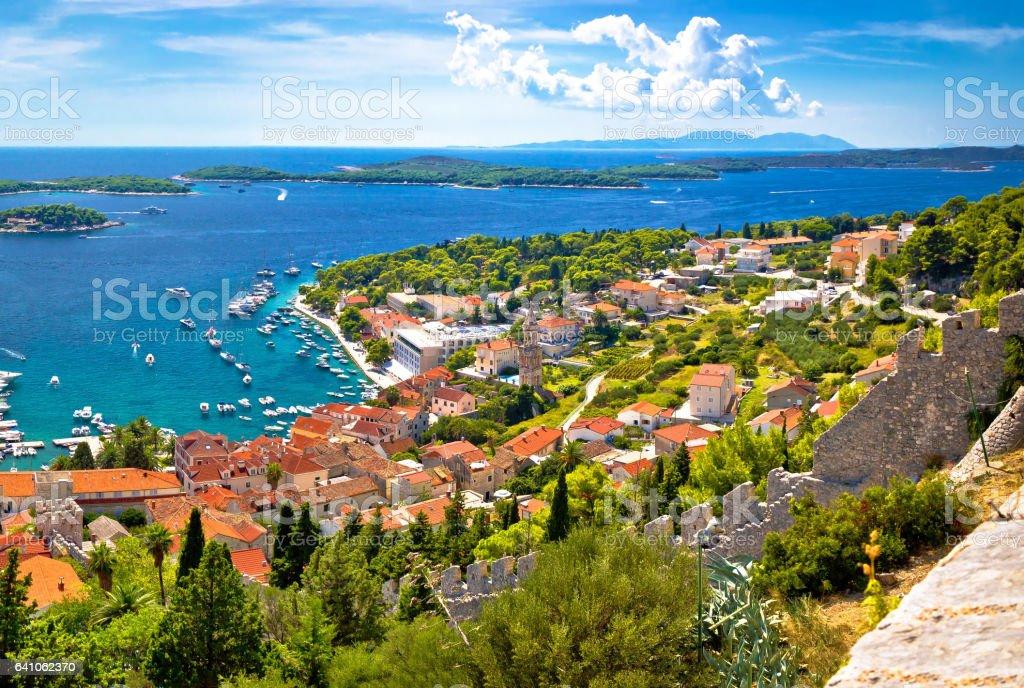 Amazing historic town of Hvar aerial view, with Paklenski islands sailing destination, Dalmatia, Croatia stock photo