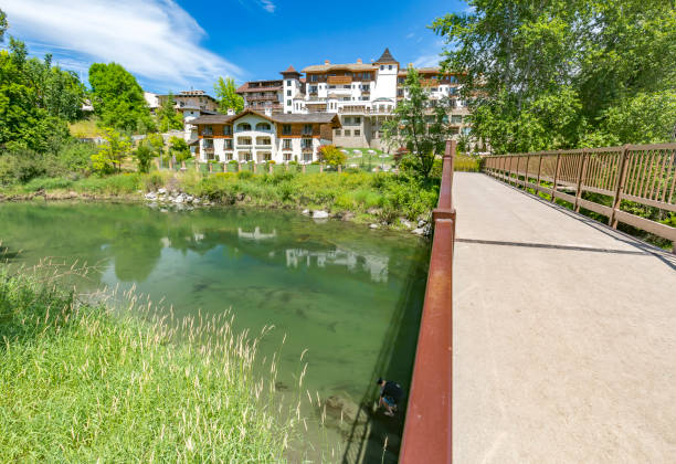 amazing hotel view on the wenatchee river leavenworth washington - leavenworth washington stock photos and pictures