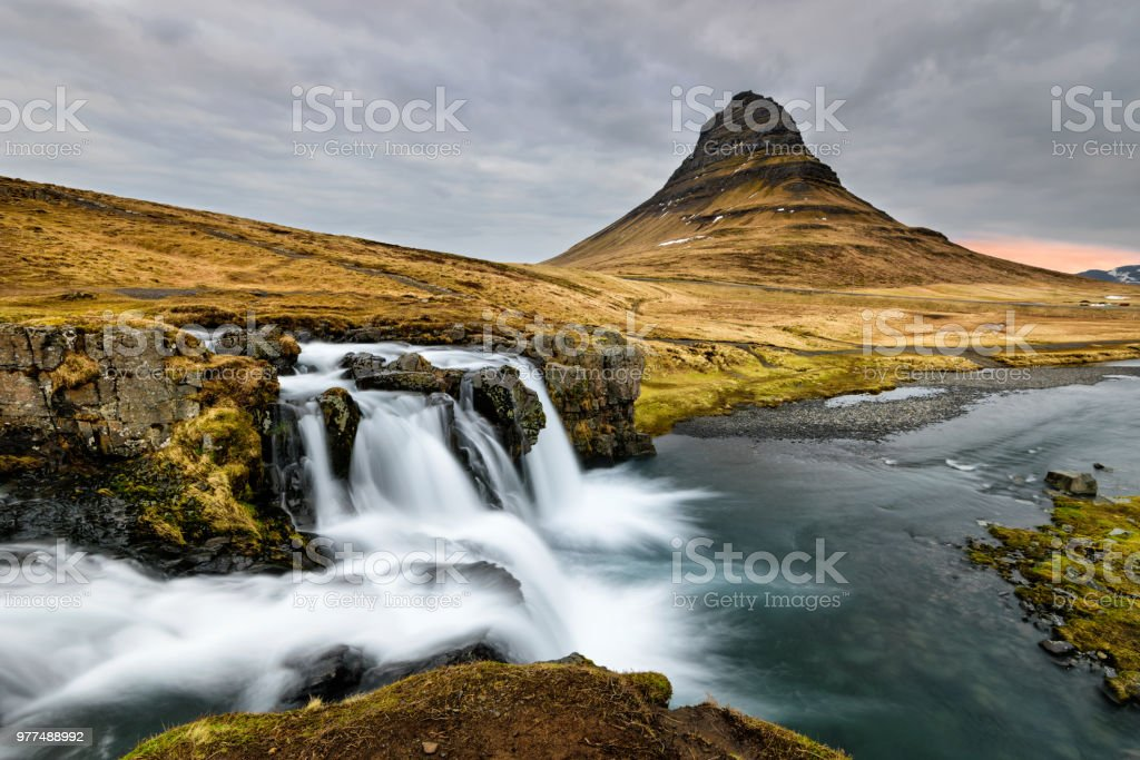 Amazing Icelandic landscape at the top of Kirkjufellsfoss waterfall stock photo