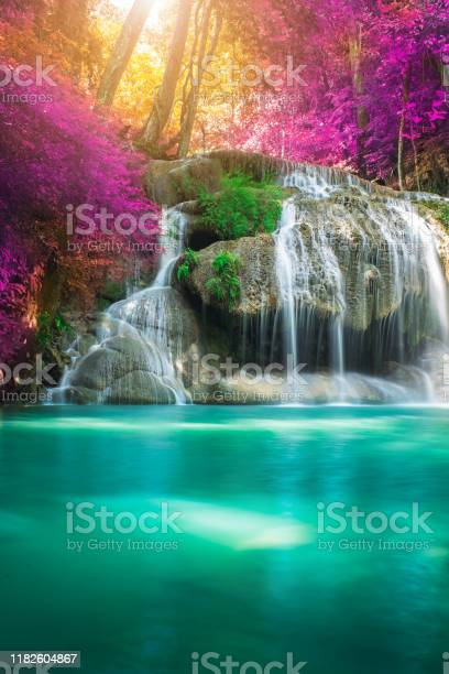 Photo of Amazing in nature, beautiful waterfall at colorful autumn forest in fall season