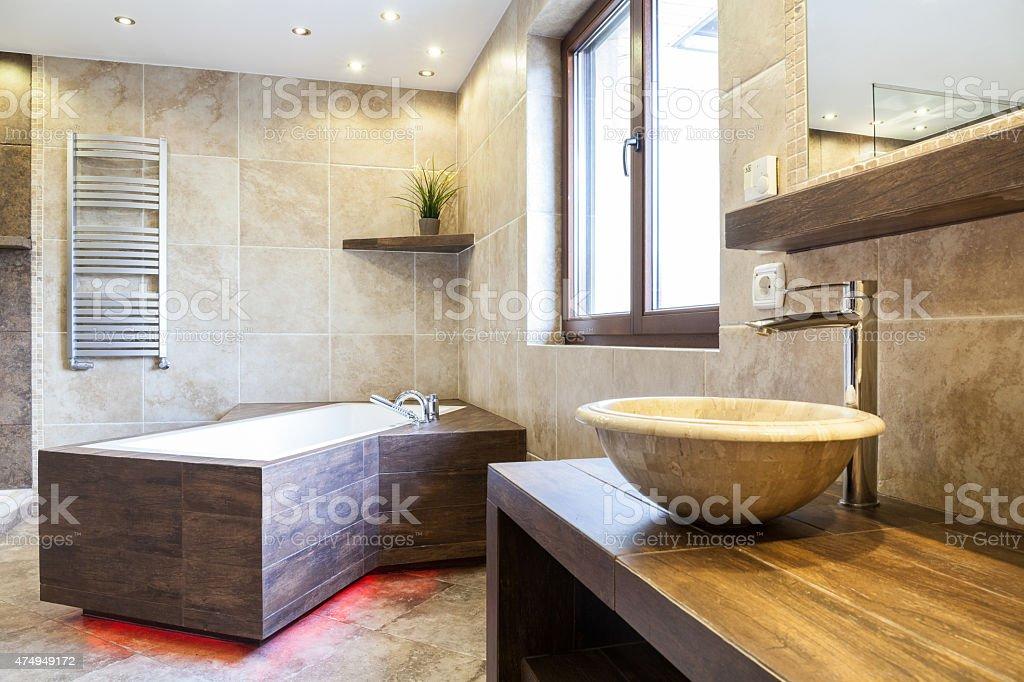 Amazing interior of the bathroom stock photo