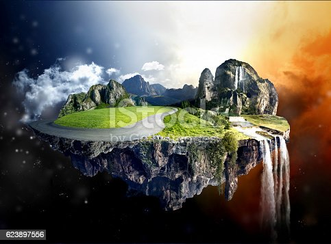 istock Amazing island with grove floating in the air 623897556