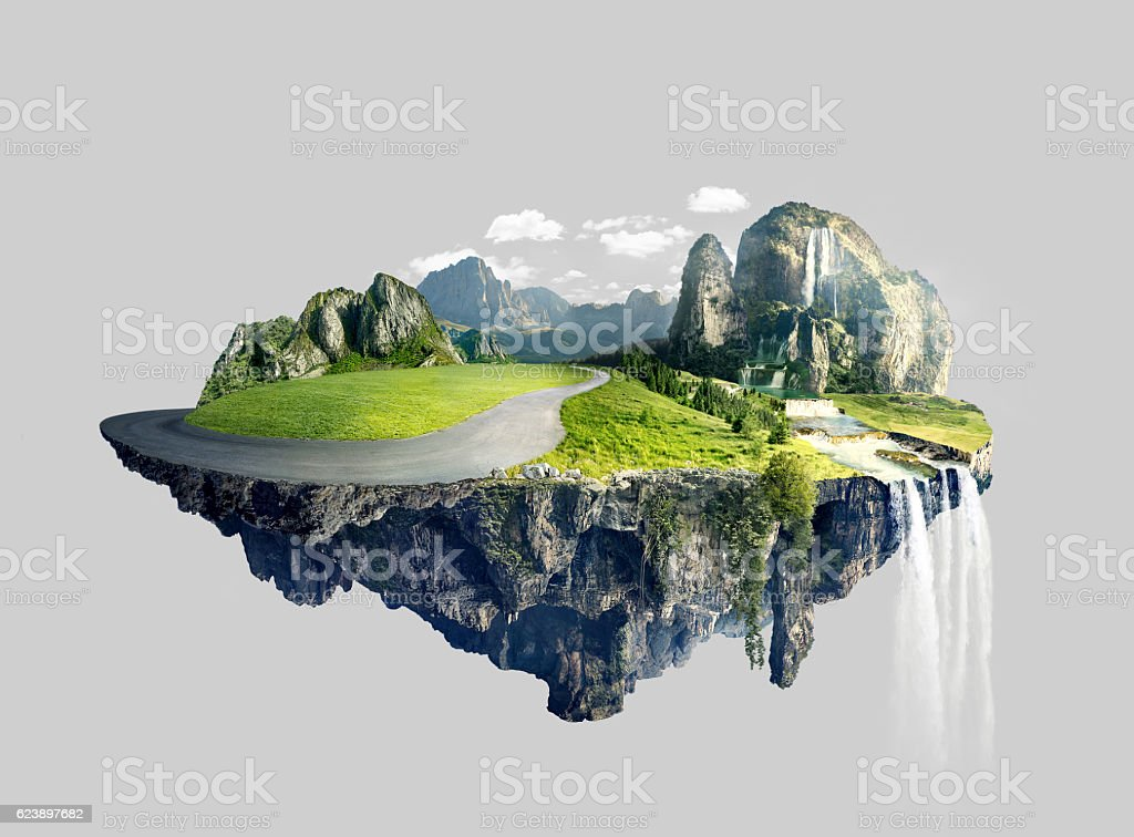 Amazing island with grove floating in the air - foto de stock