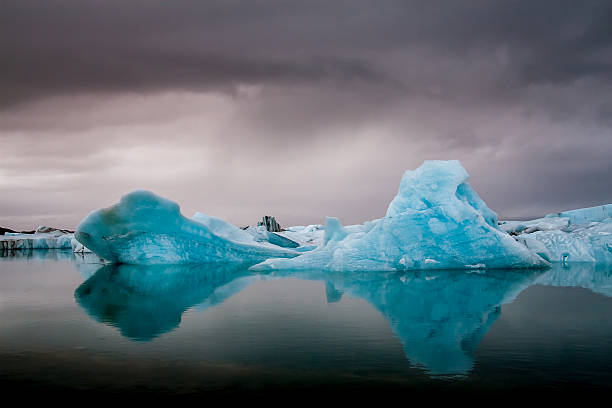 Amazing Jokulsarlon glacial lake full of floating  and melting i stock photo