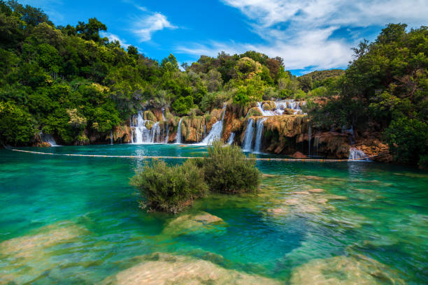 Amazing Krka National Park with majestic waterfalls, Sibenik, Dalmatia, Croatia stock photo