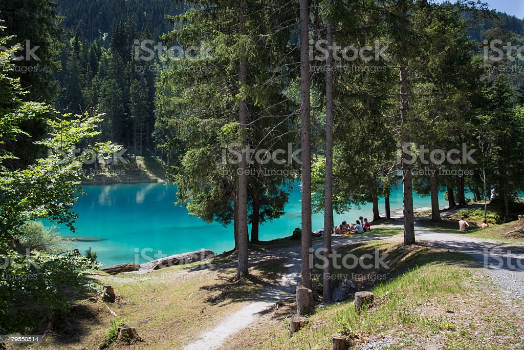 Amazing landscape at the lake Cauma in Switzerland stock photo