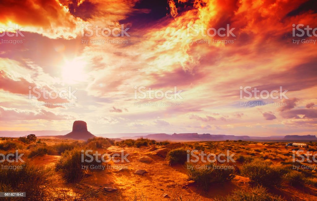 amazing landscape at the sunset at the monument valley national park in arizona USA with cloudy and drama sky royalty-free stock photo