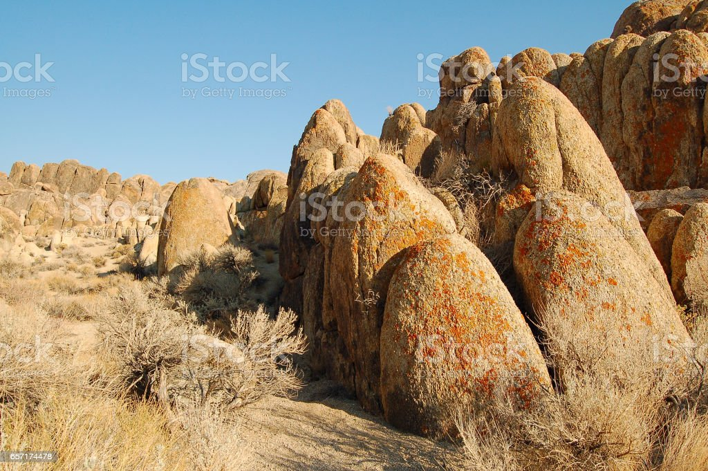 Amazing landscape in the Alabama Hills in California stock photo