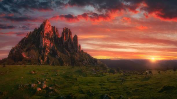 amazing landscape of Itxina mountain peak at sunset stock photo