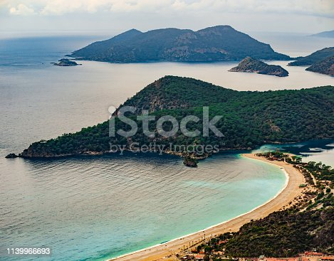 istock Amazing landscape of Oludeniz Beach and bay, Mugla, Turkey. Aerial Photo from Lycian way. Summer and holiday concept. Fethiye. 1139966693