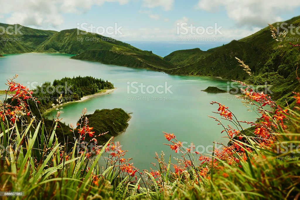 amazing landscape view crater volcano lake in Sao Miguel island - foto de stock