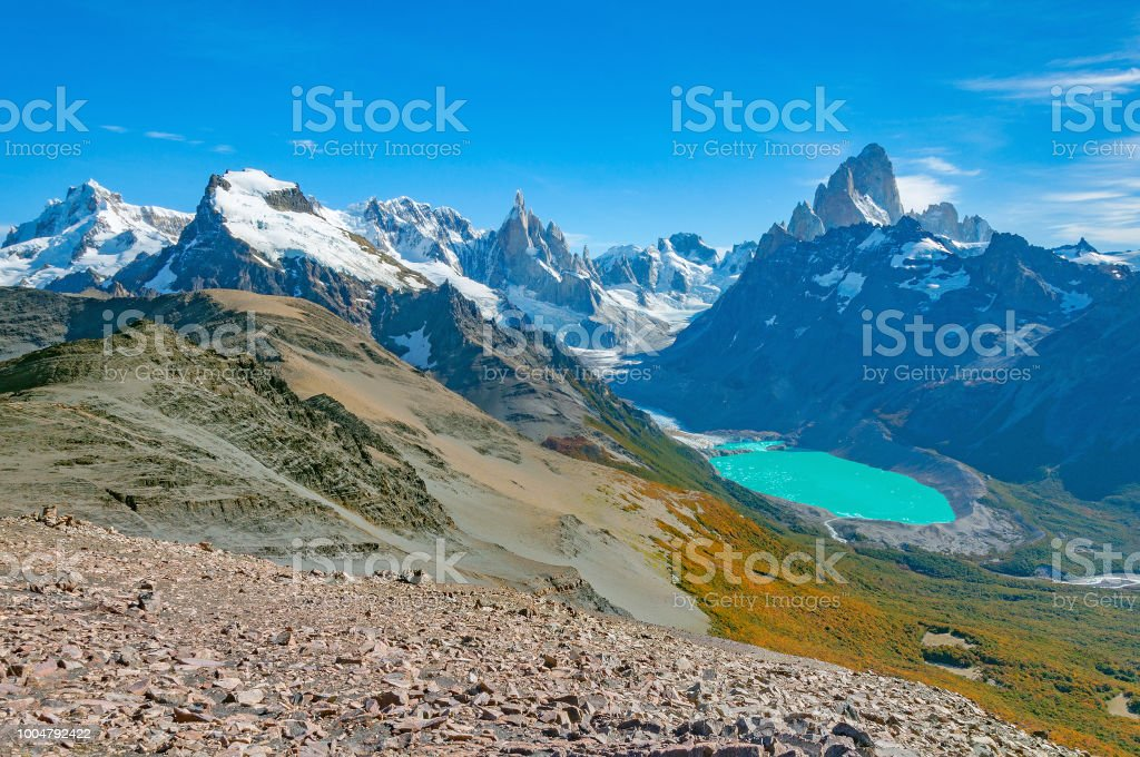 Amazing landscape with Fitz Roy and Cerro Torre mountains. stock photo