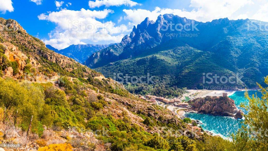 amazing landscapes of Corsica Island stock photo